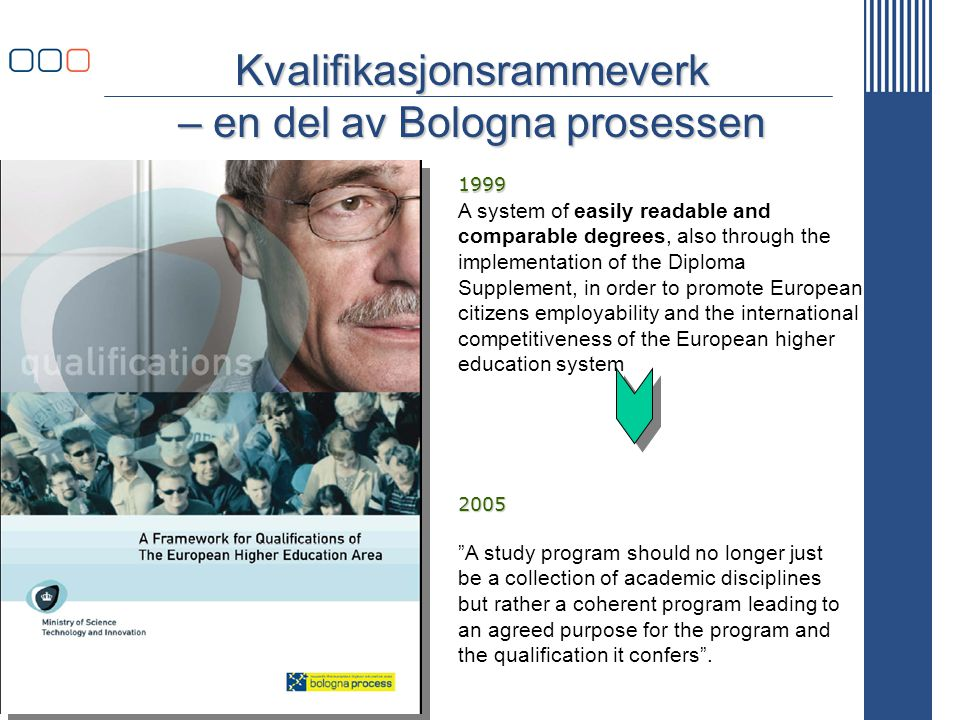 www.uhr.no uhr@uhr.no Kvalifikasjonsrammeverk – en del av Bologna prosessen A study program should no longer just be a collection of academic disciplines but rather a coherent program leading to an agreed purpose for the program and the qualification it confers .