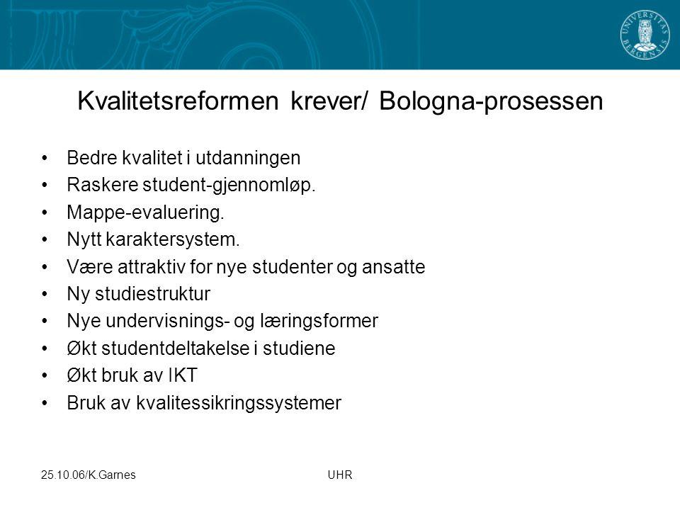 25.10.06/K.GarnesUHR Kvalitetsreformen krever/ Bologna-prosessen Bedre kvalitet i utdanningen Raskere student-gjennomløp. Mappe-evaluering. Nytt karak