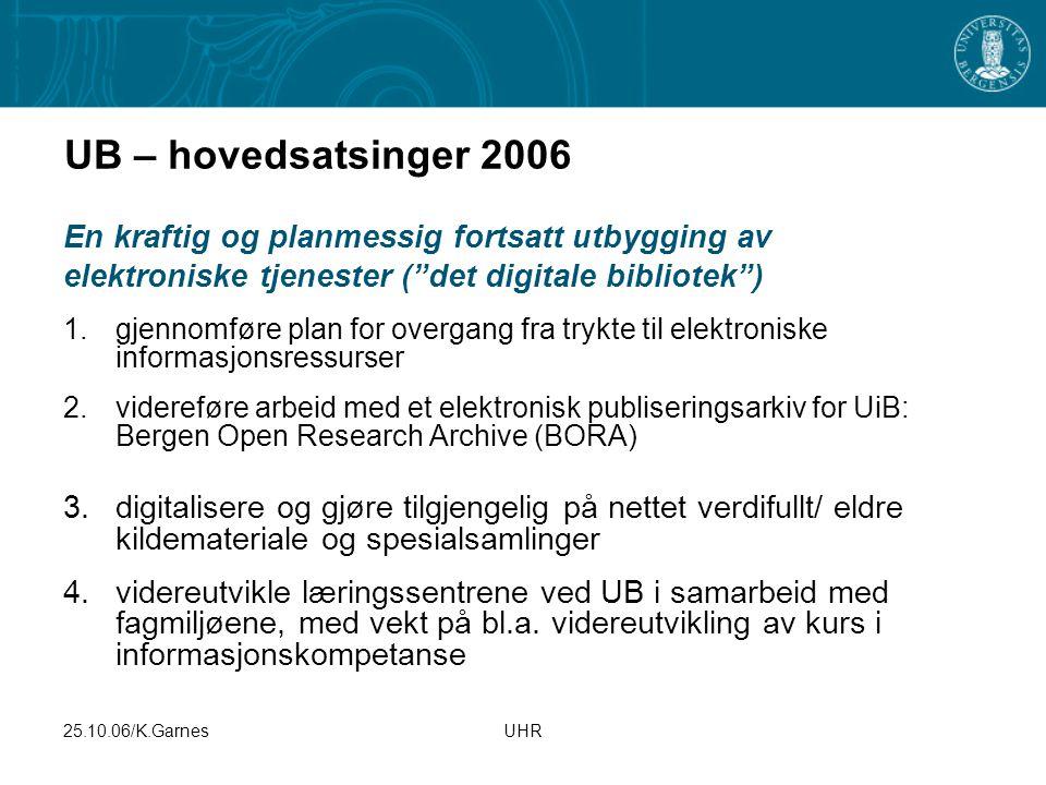 """25.10.06/K.GarnesUHR UB – hovedsatsinger 2006 En kraftig og planmessig fortsatt utbygging av elektroniske tjenester (""""det digitale bibliotek"""") 1.gjenn"""