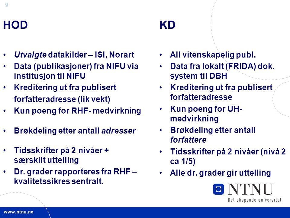 9 HOD Utvalgte datakilder – ISI, Norart Data (publikasjoner) fra NIFU via institusjon til NIFU Kreditering ut fra publisert forfatteradresse (lik vekt) Kun poeng for RHF- medvirkning Brøkdeling etter antall adresser Tidsskrifter på 2 nivåer + særskilt uttelling Dr.