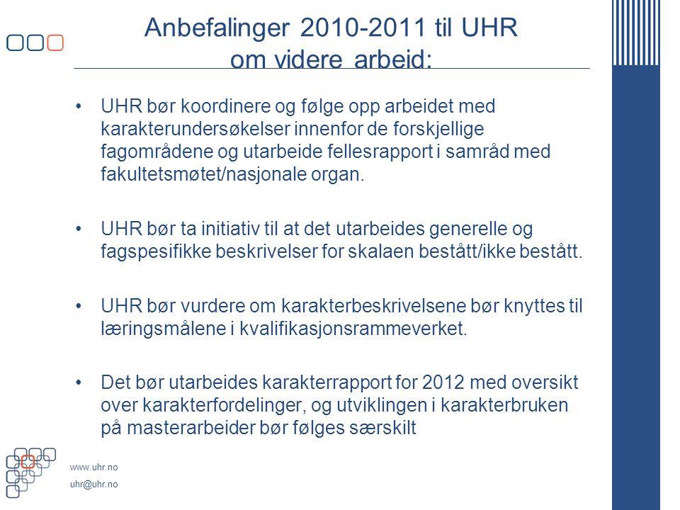 www.uhr.no uhr@uhr.no Spesielt om helse- og sosialfagutdanningene i UHRs karakterrapport 2011:  Om bruken av bestått/ikke bestått (B/IB)  Samlet brukes skalaen B/IB i 45 % av eksamenene innen disse utdanningene.