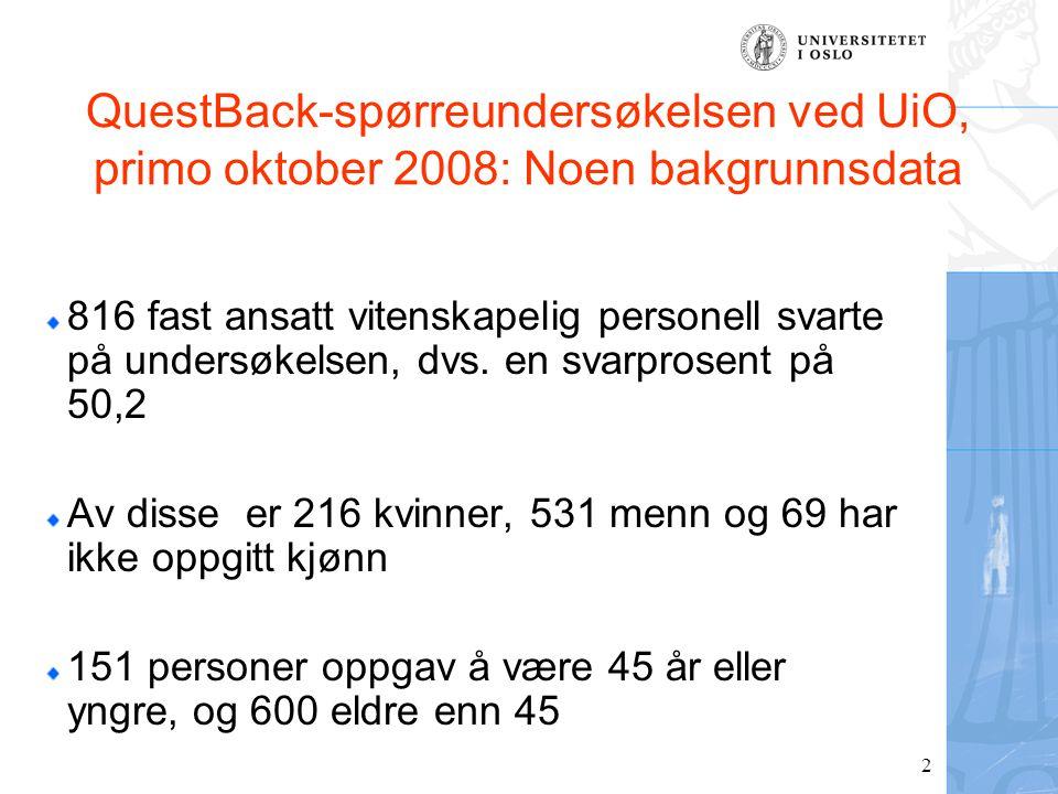 2 QuestBack-spørreundersøkelsen ved UiO, primo oktober 2008: Noen bakgrunnsdata 816 fast ansatt vitenskapelig personell svarte på undersøkelsen, dvs.