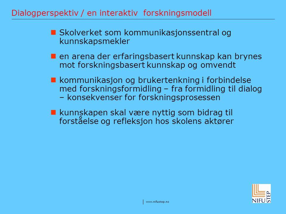 www.nifustep.no Dialogperspektiv / en interaktiv forskningsmodell Skolverket som kommunikasjonssentral og kunnskapsmekler en arena der erfaringsbasert