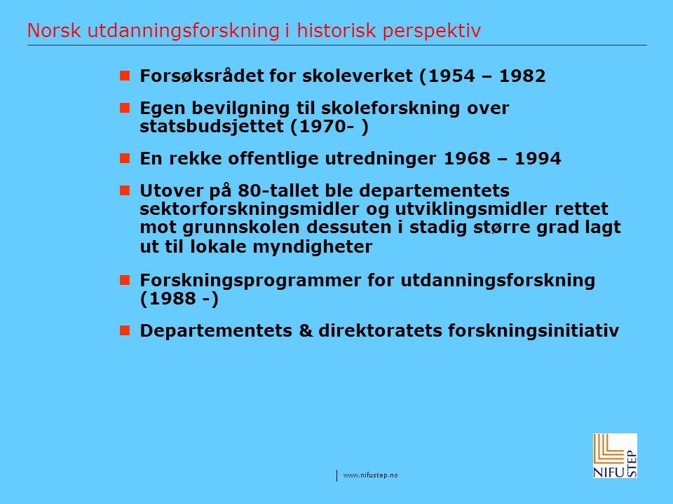 www.nifustep.no Norsk utdanningsforskning i historisk perspektiv Forsøksrådet for skoleverket (1954 – 1982 Egen bevilgning til skoleforskning over sta