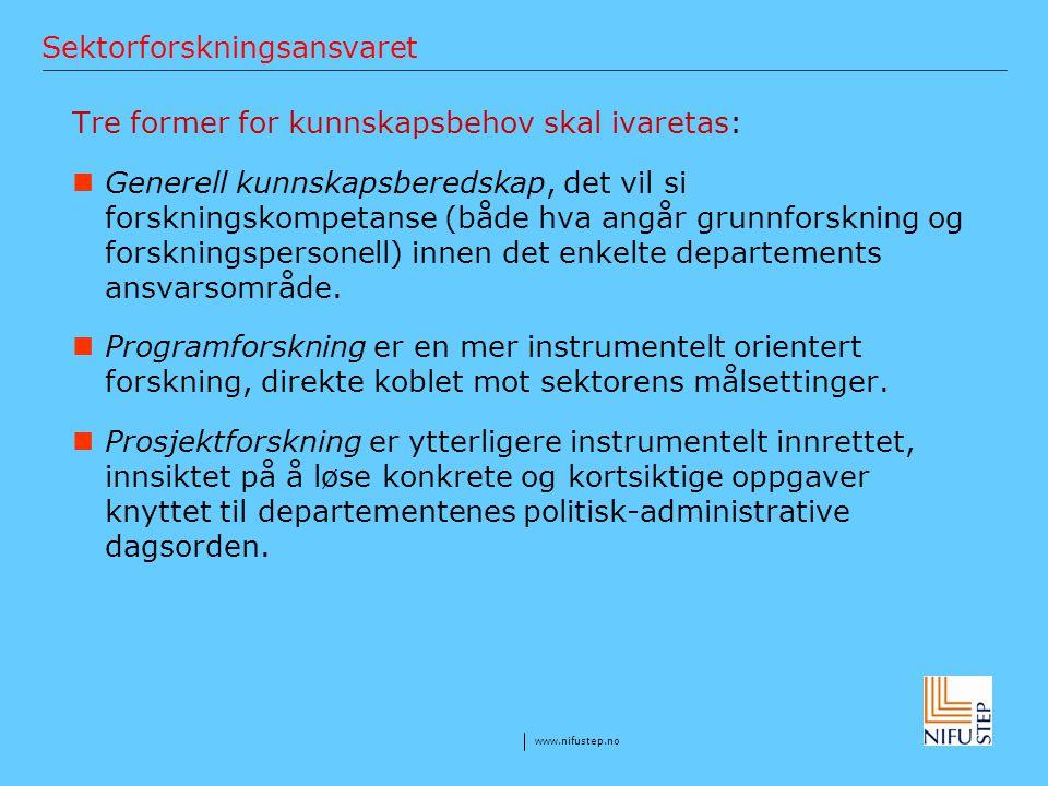 www.nifustep.no Sektorforskningsansvaret Tre former for kunnskapsbehov skal ivaretas: Generell kunnskapsberedskap, det vil si forskningskompetanse (bå