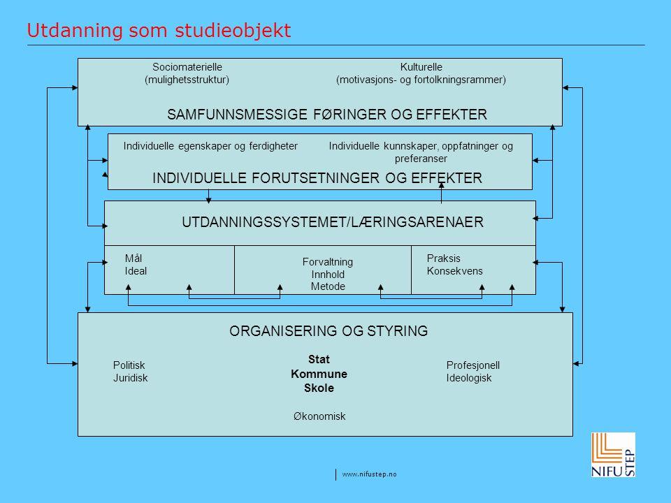 www.nifustep.no Utdanning som studieobjekt Sociomaterielle (mulighetsstruktur) SAMFUNNSMESSIGE FØRINGER OG EFFEKTER Kulturelle (motivasjons- og fortol