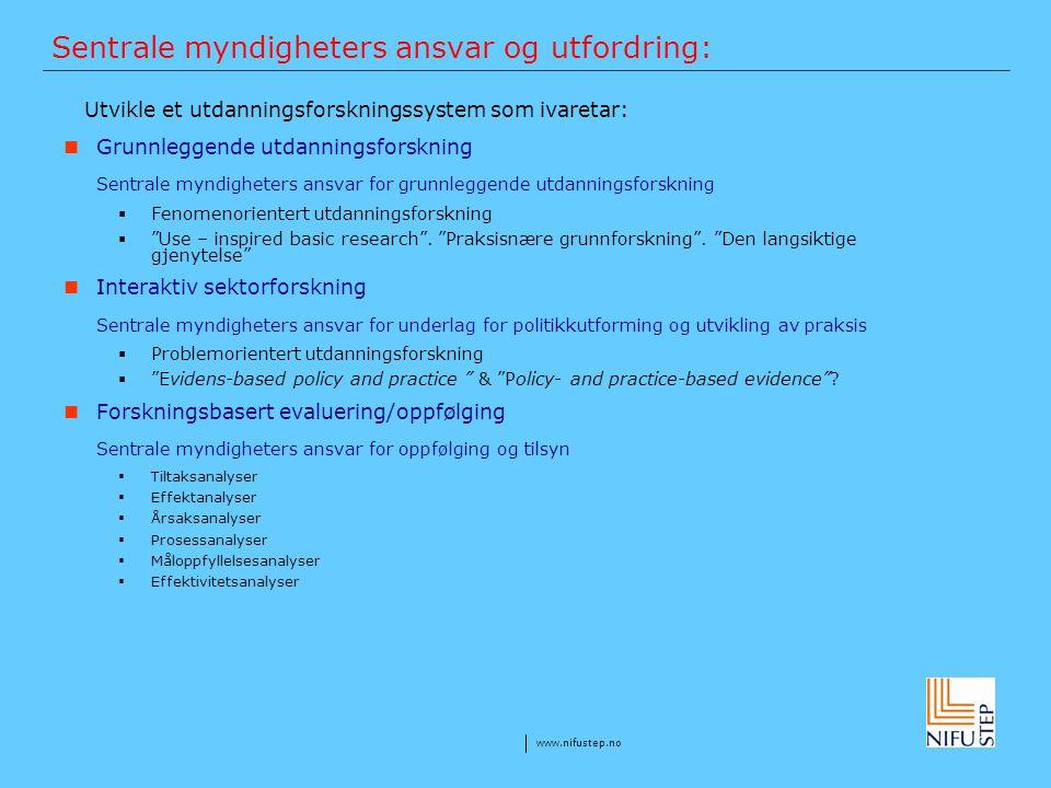 www.nifustep.no Sentrale myndigheters ansvar og utfordring: Utvikle et utdanningsforskningssystem som ivaretar: Grunnleggende utdanningsforskning Sent