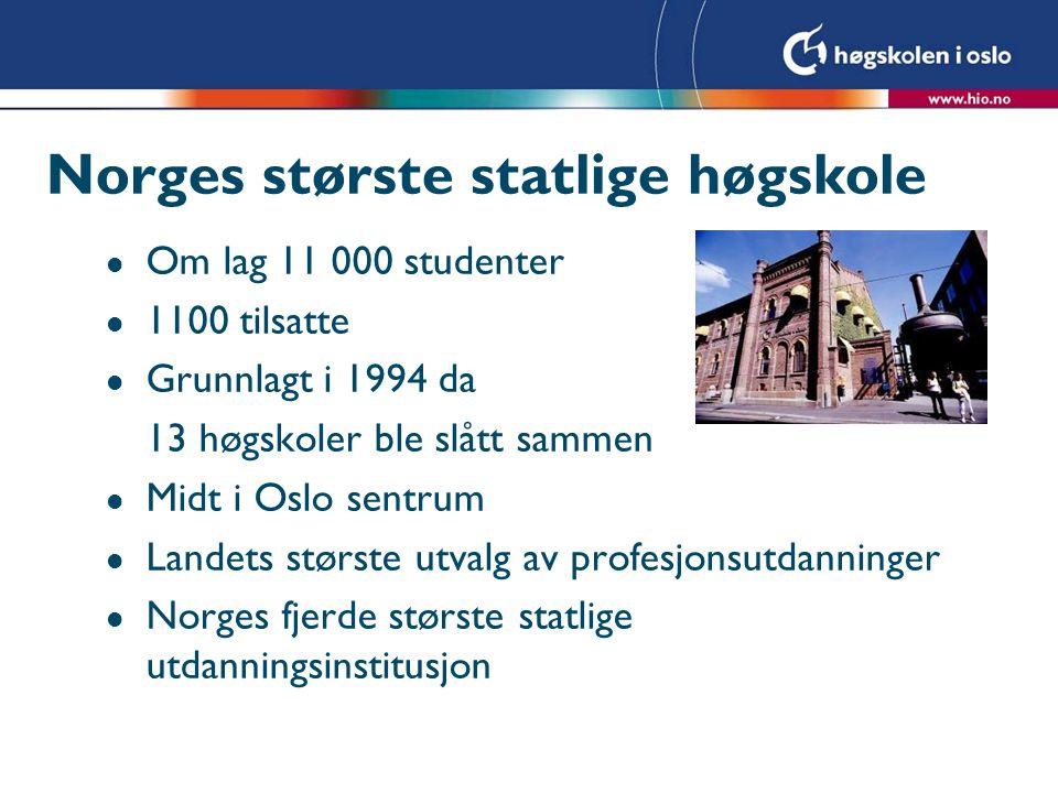 Norges største statlige høgskole l Om lag 11 000 studenter l 1100 tilsatte l Grunnlagt i 1994 da 13 høgskoler ble slått sammen l Midt i Oslo sentrum l Landets største utvalg av profesjonsutdanninger l Norges fjerde største statlige utdanningsinstitusjon