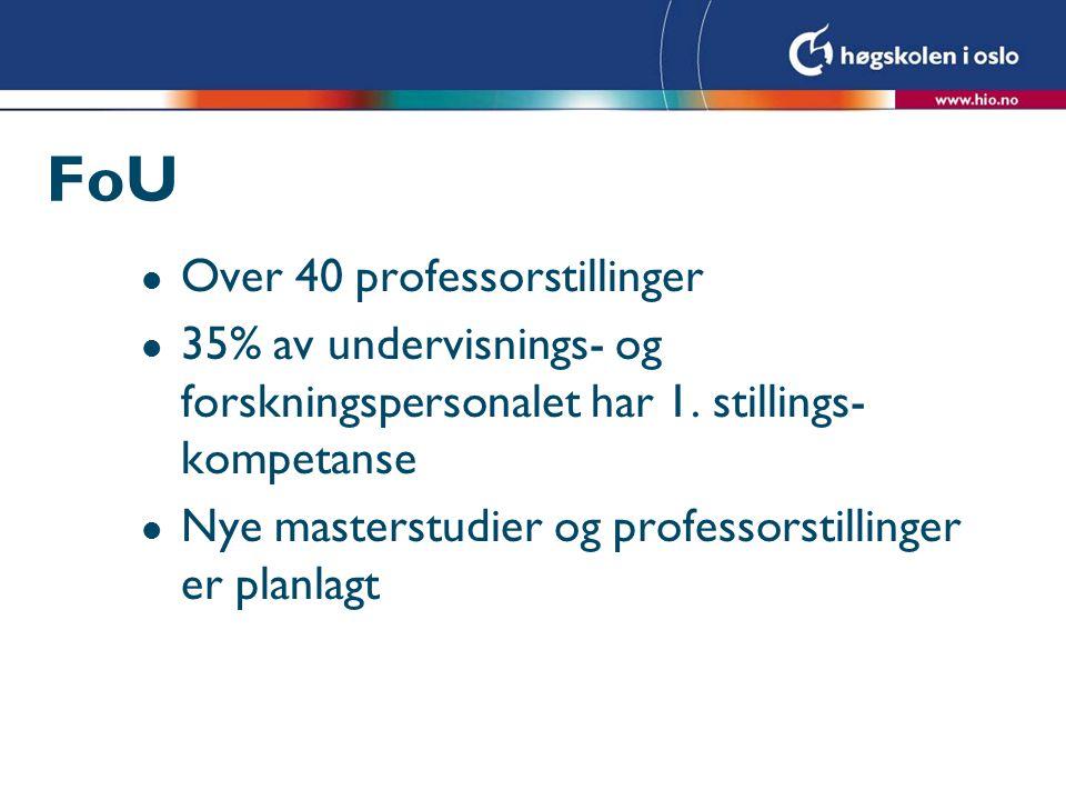 FoU l Over 40 professorstillinger l 35% av undervisnings- og forskningspersonalet har 1.