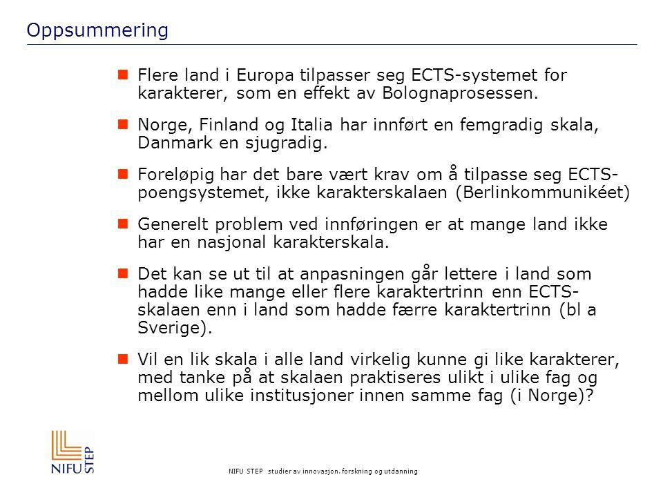 NIFU STEP studier av innovasjon, forskning og utdanning Oppsummering Flere land i Europa tilpasser seg ECTS-systemet for karakterer, som en effekt av