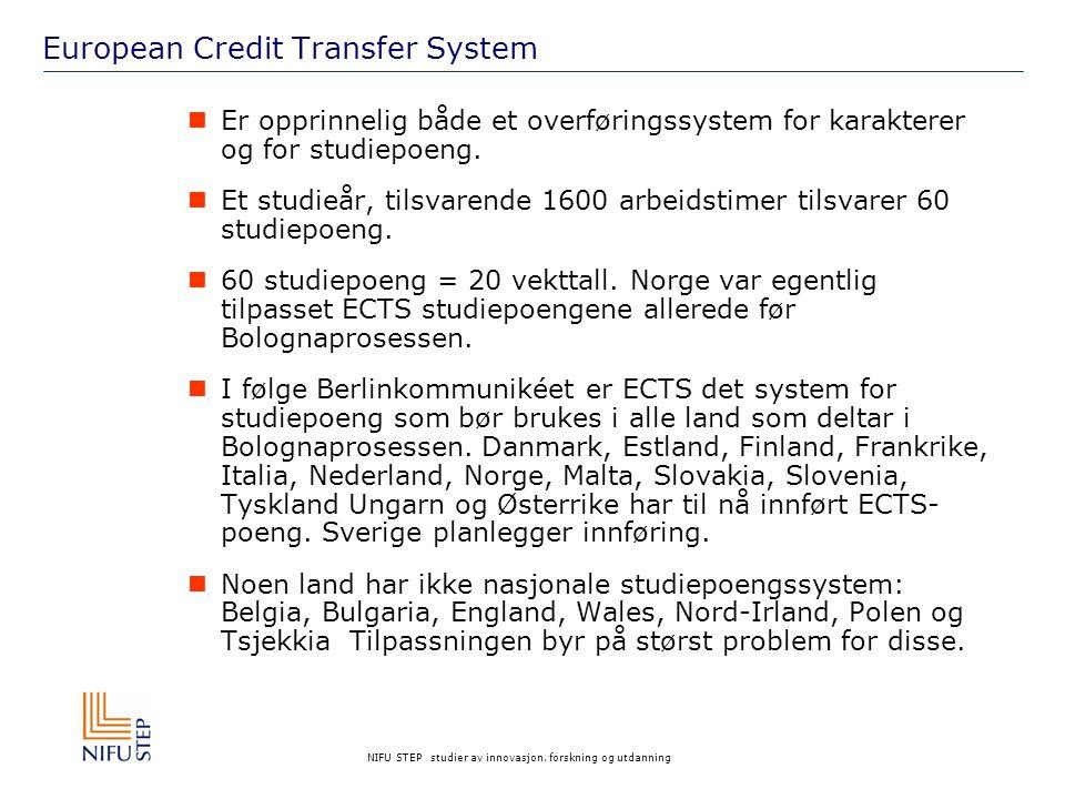 NIFU STEP studier av innovasjon, forskning og utdanning European Credit Transfer System Er opprinnelig både et overføringssystem for karakterer og for