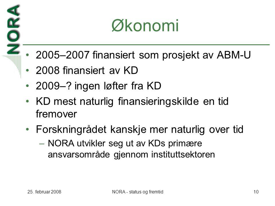 25. februar 2008NORA - status og fremtid10 Økonomi 2005–2007 finansiert som prosjekt av ABM-U 2008 finansiert av KD 2009–? ingen løfter fra KD KD mest