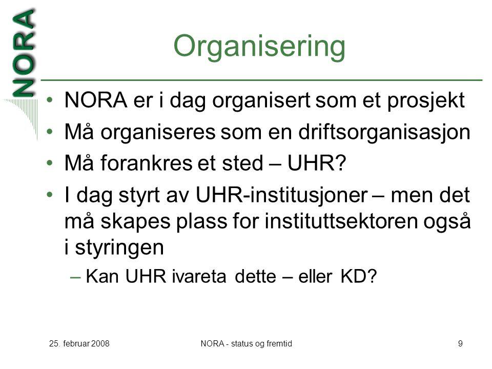 25. februar 2008NORA - status og fremtid9 Organisering NORA er i dag organisert som et prosjekt Må organiseres som en driftsorganisasjon Må forankres