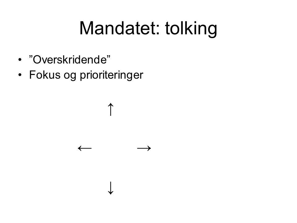 Mandatet: tolking Overskridende Fokus og prioriteringer ↑ ←→ ↓