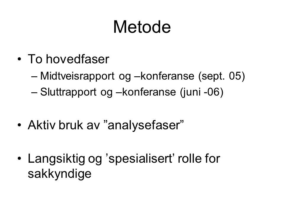 Metode To hovedfaser –Midtveisrapport og –konferanse (sept.