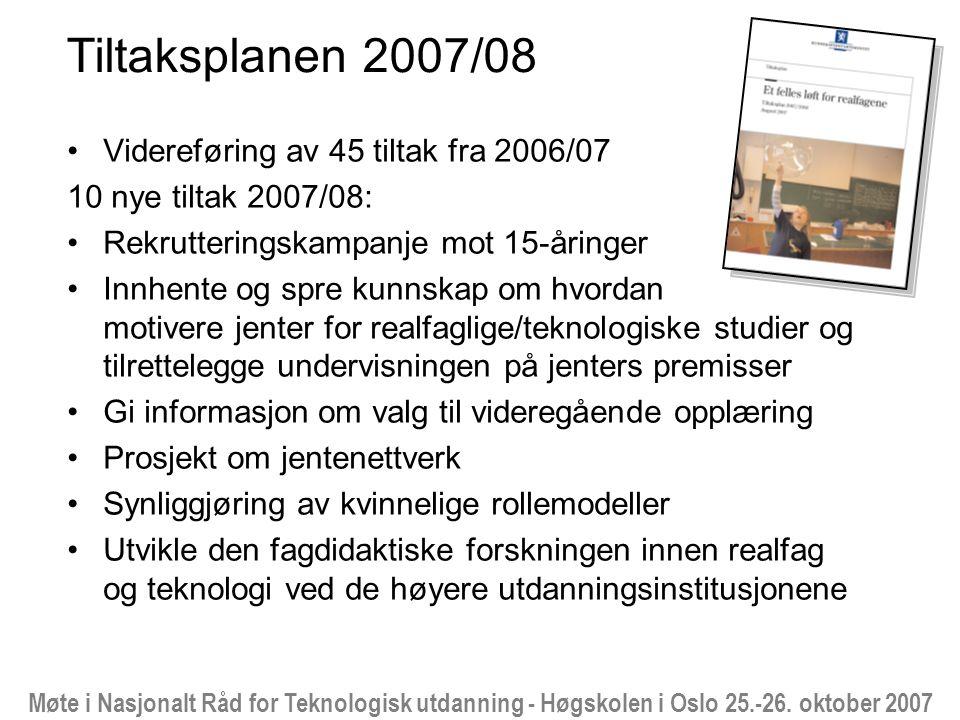 Møte i Nasjonalt Råd for Teknologisk utdanning - Høgskolen i Oslo 25.-26. oktober 2007 Tiltaksplanen 2007/08 Videreføring av 45 tiltak fra 2006/07 10