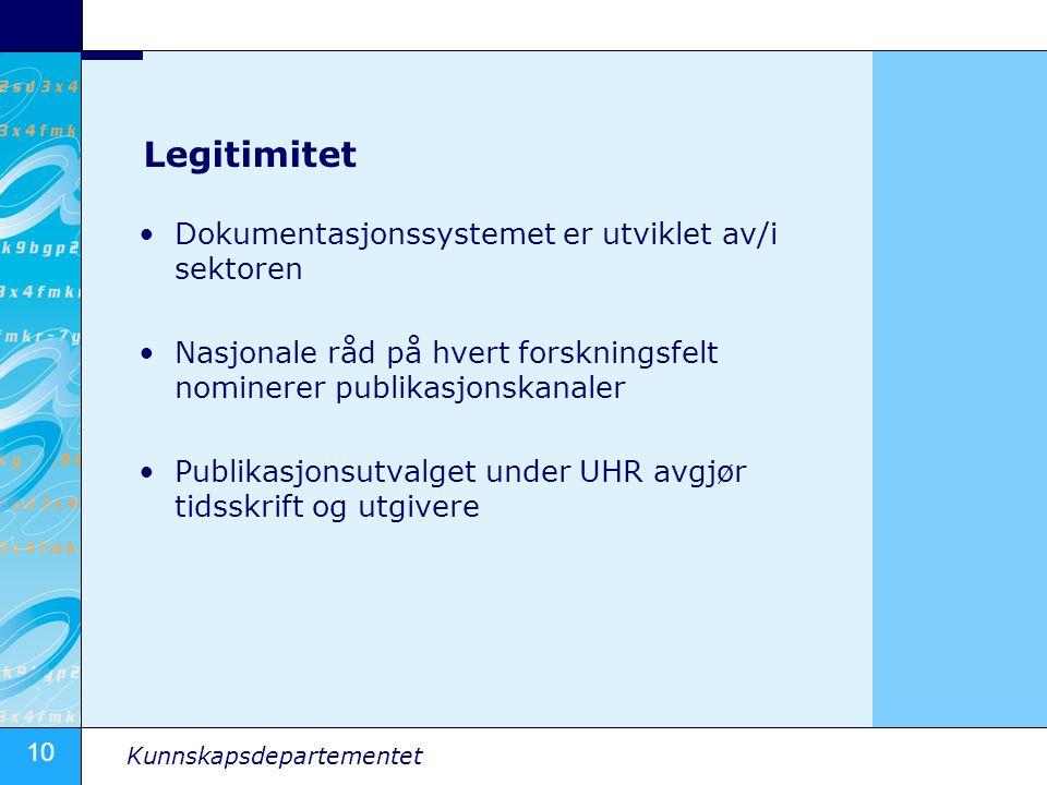 10 Kunnskapsdepartementet Legitimitet Dokumentasjonssystemet er utviklet av/i sektoren Nasjonale råd på hvert forskningsfelt nominerer publikasjonskan