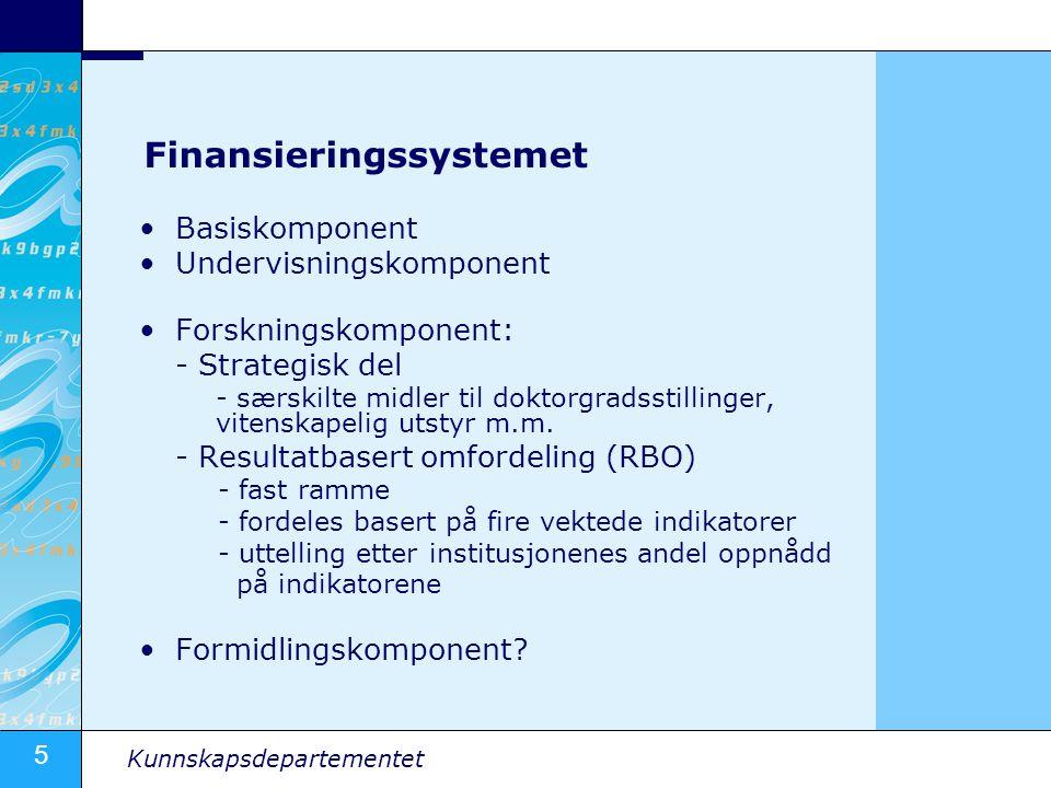 5 Kunnskapsdepartementet Finansieringssystemet Basiskomponent Undervisningskomponent Forskningskomponent: - Strategisk del - særskilte midler til dokt