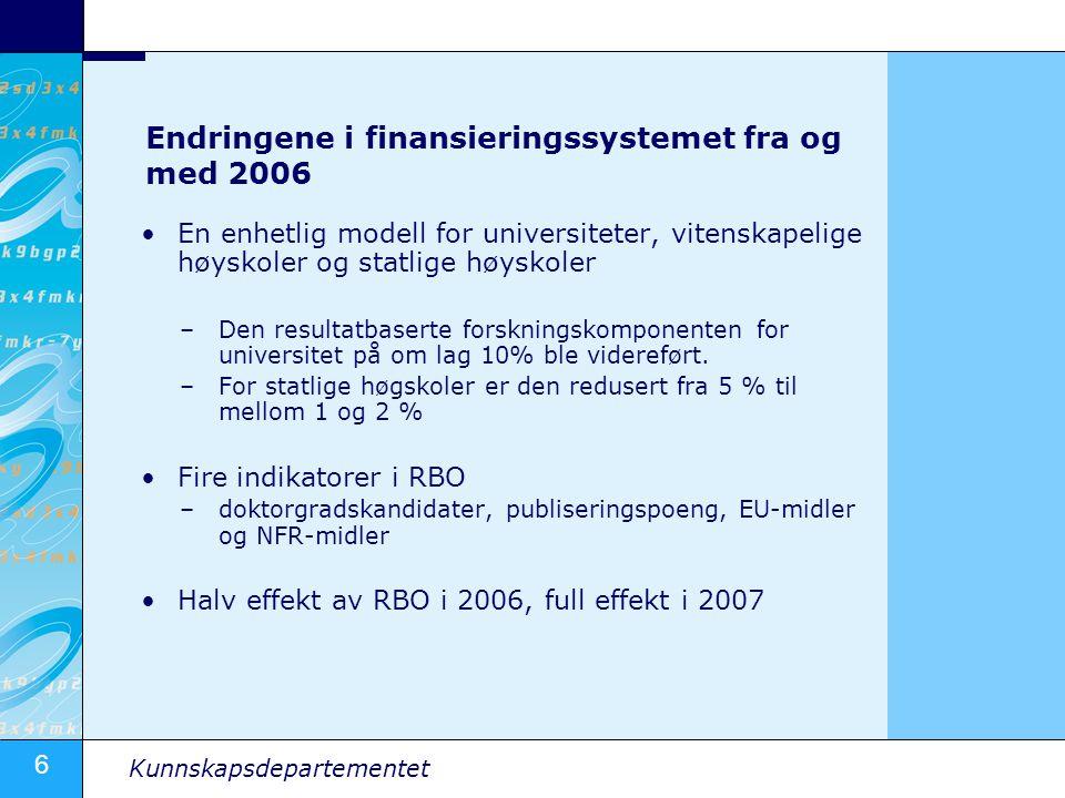 6 Kunnskapsdepartementet Endringene i finansieringssystemet fra og med 2006 En enhetlig modell for universiteter, vitenskapelige høyskoler og statlige