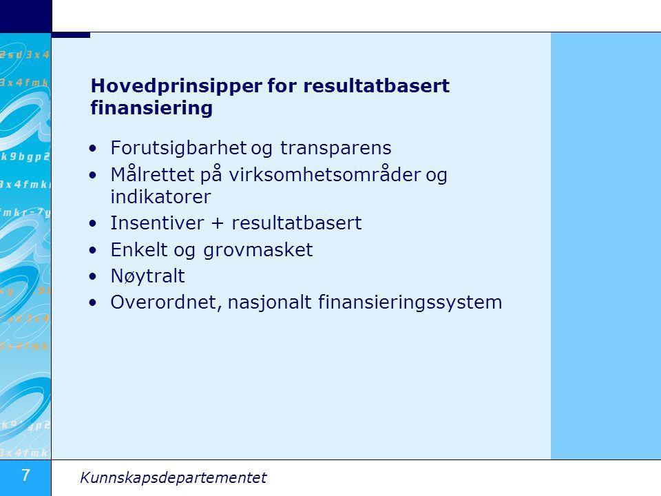 7 Kunnskapsdepartementet Hovedprinsipper for resultatbasert finansiering Forutsigbarhet og transparens Målrettet på virksomhetsområder og indikatorer