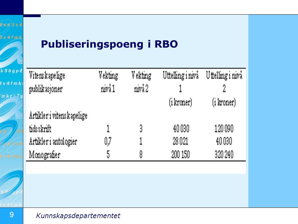 9 Kunnskapsdepartementet Publiseringspoeng i RBO