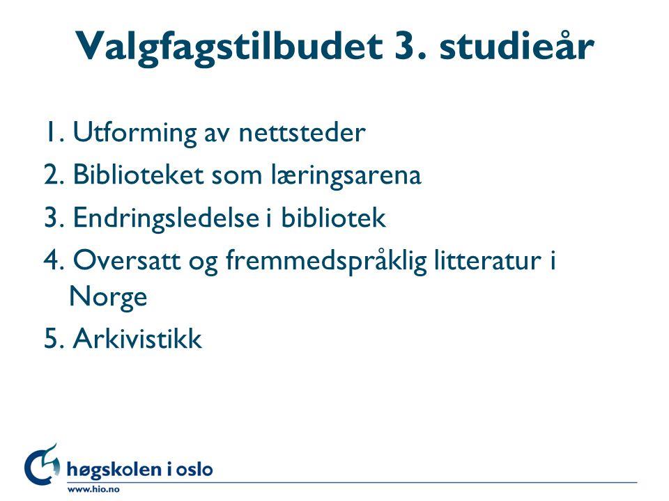 Valgfagstilbudet 3. studieår 1. Utforming av nettsteder 2. Biblioteket som læringsarena 3. Endringsledelse i bibliotek 4. Oversatt og fremmedspråklig