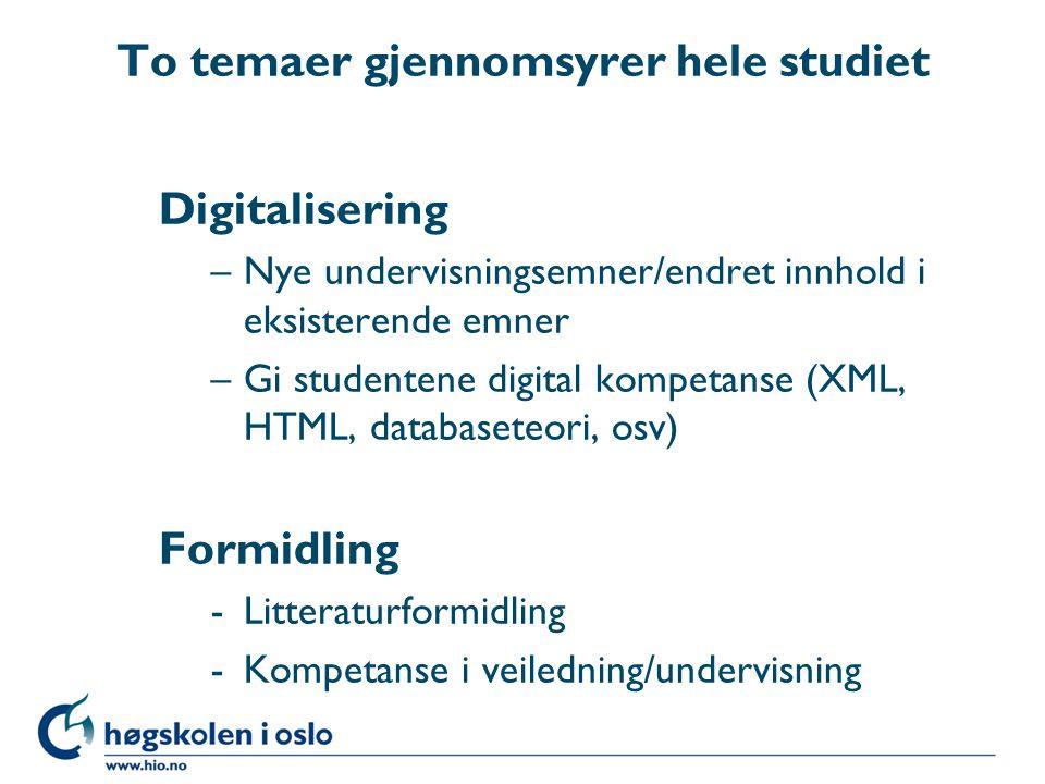 To temaer gjennomsyrer hele studiet Digitalisering –Nye undervisningsemner/endret innhold i eksisterende emner –Gi studentene digital kompetanse (XML,