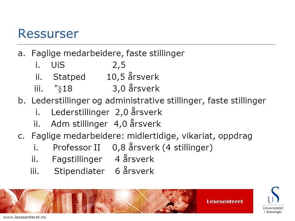 Lesesenteret www.lesesenteret.no Ressurser a.Faglige medarbeidere, faste stillinger i.