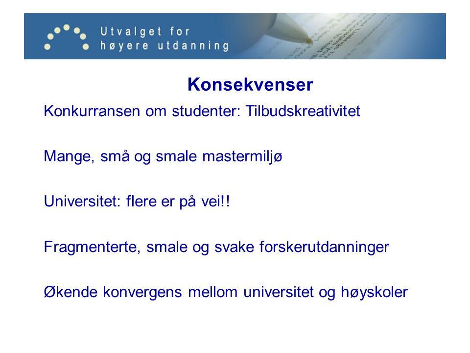 Konsekvenser Konkurransen om studenter: Tilbudskreativitet Mange, små og smale mastermiljø Universitet: flere er på vei!.