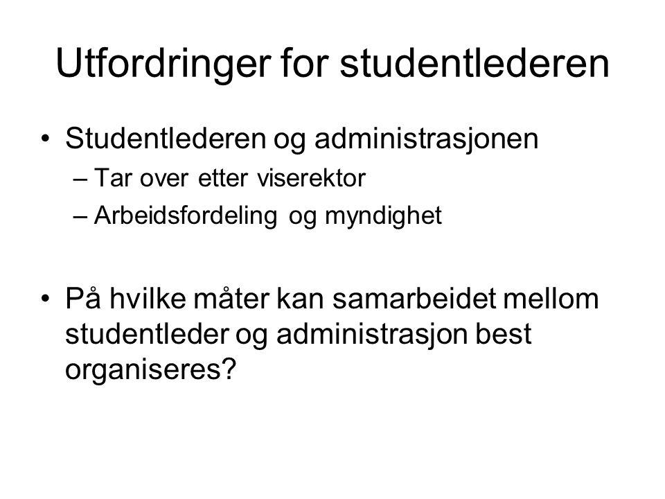 Utfordringer for studentlederen Studentlederen og administrasjonen –Tar over etter viserektor –Arbeidsfordeling og myndighet På hvilke måter kan samarbeidet mellom studentleder og administrasjon best organiseres?