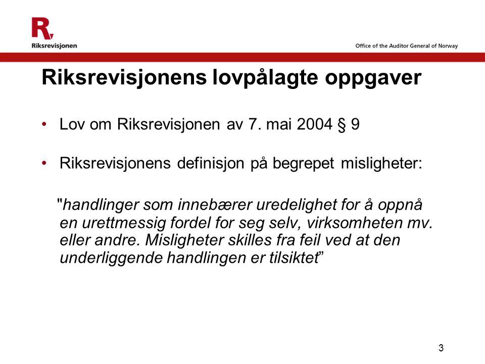 3 Riksrevisjonens lovpålagte oppgaver Lov om Riksrevisjonen av 7. mai 2004 § 9 Riksrevisjonens definisjon på begrepet misligheter: