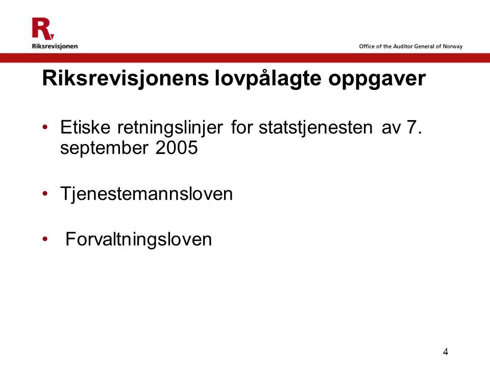 4 Riksrevisjonens lovpålagte oppgaver Etiske retningslinjer for statstjenesten av 7. september 2005 Tjenestemannsloven Forvaltningsloven