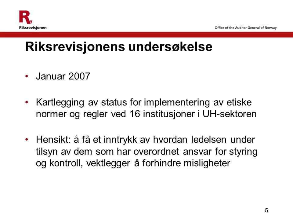 5 Riksrevisjonens undersøkelse Januar 2007 Kartlegging av status for implementering av etiske normer og regler ved 16 institusjoner i UH-sektoren Hens