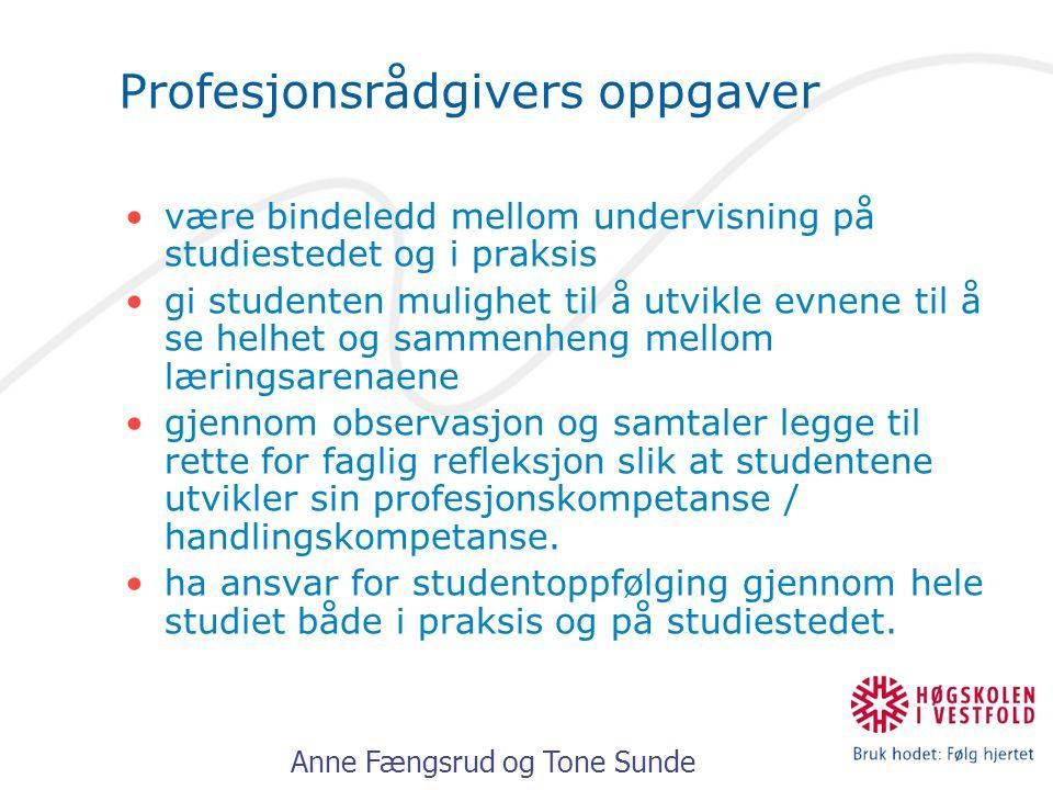 Anne Fængsrud og Tone Sunde Profesjonsrådgivers oppgaver være bindeledd mellom undervisning på studiestedet og i praksis gi studenten mulighet til å u
