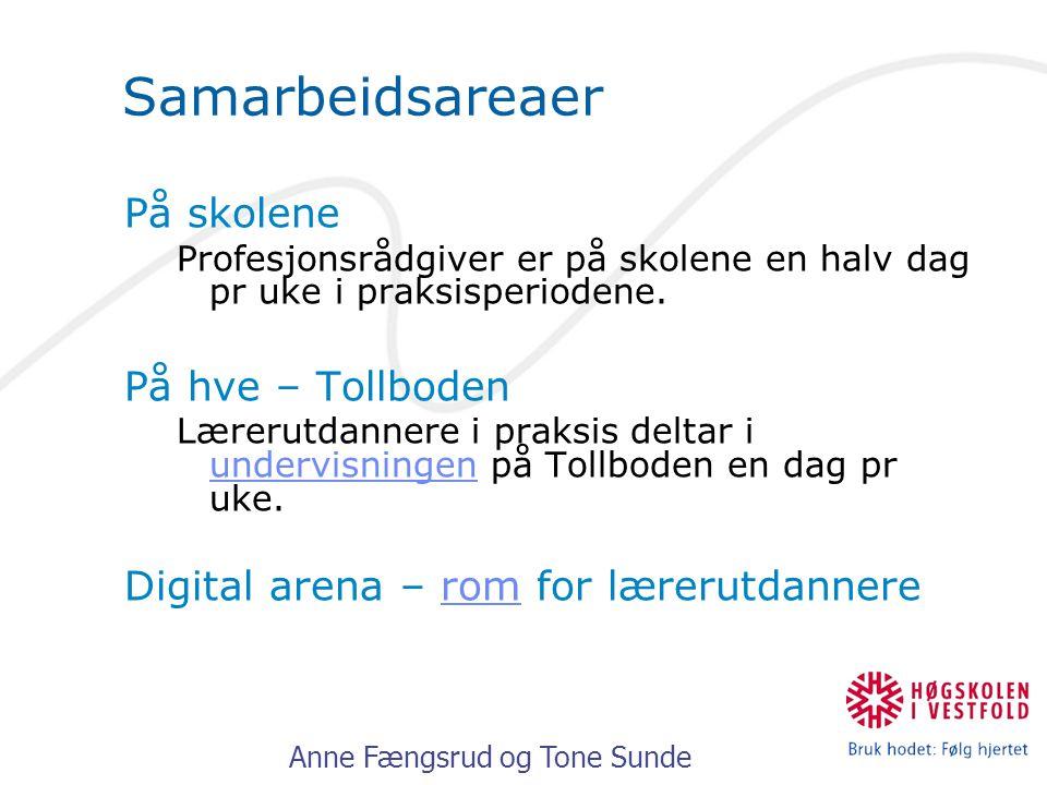 Anne Fængsrud og Tone Sunde Samarbeidsareaer På skolene Profesjonsrådgiver er på skolene en halv dag pr uke i praksisperiodene. På hve – Tollboden Lær
