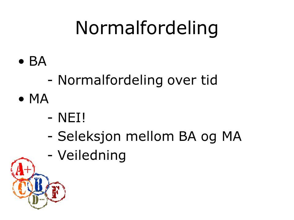 Normalfordeling BA - Normalfordeling over tid MA - NEI! - Seleksjon mellom BA og MA - Veiledning