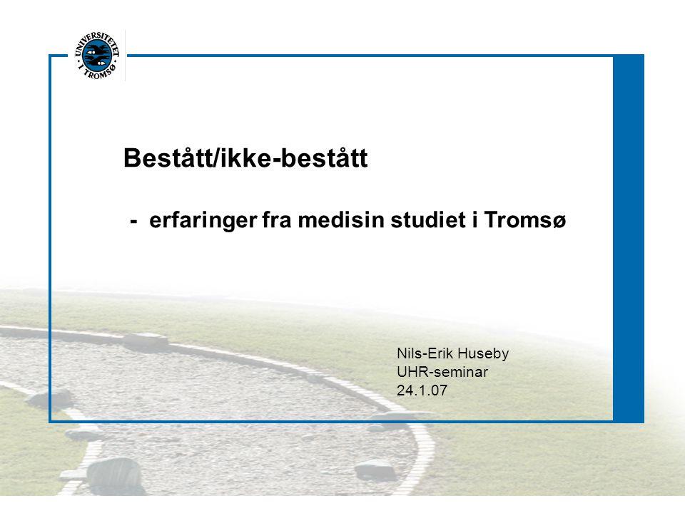 Hovedtanken bak medisin studiet i Tromsø var Tidlig pasientkontakt, utplassering i sykehus/allmennpraksis Integrasjon mellom teoretiske og kliniske fag Mer gruppeundervisning og seminarer på bekostning av forelesninger Valgfrie undervisningselement og en selvstendig, skriftlig oppgave Få og integrerte eksamener Karakterer - bestått/ikke-bestått
