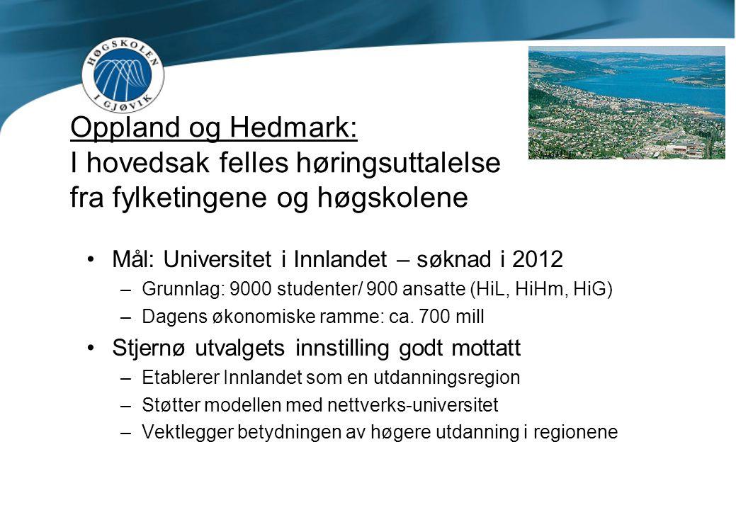 Oppland og Hedmark: I hovedsak felles høringsuttalelse fra fylketingene og høgskolene Mål: Universitet i Innlandet – søknad i 2012 –Grunnlag: 9000 studenter/ 900 ansatte (HiL, HiHm, HiG) –Dagens økonomiske ramme: ca.