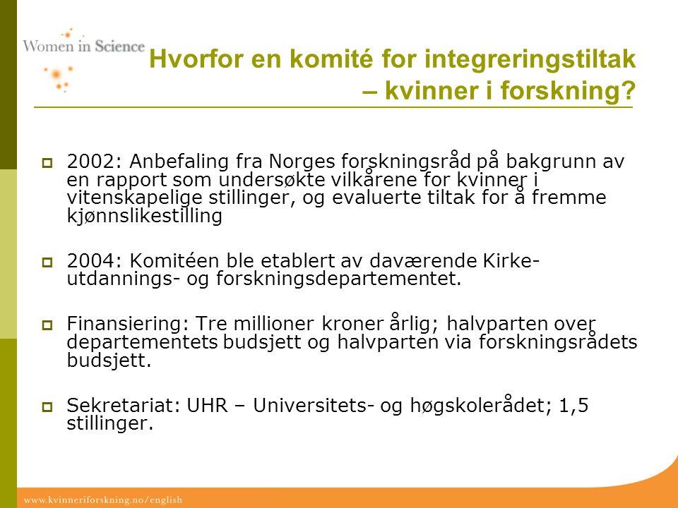 Hvorfor en komité for integreringstiltak – kvinner i forskning?  2002: Anbefaling fra Norges forskningsråd på bakgrunn av en rapport som undersøkte v