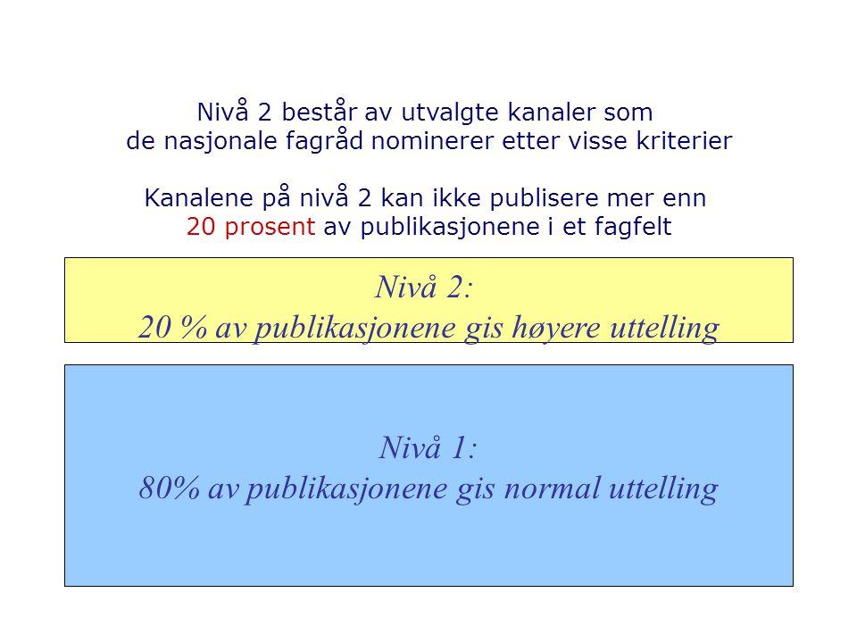 Nivå 2: 20 % av publikasjonene gis høyere uttelling Nivå 1: 80% av publikasjonene gis normal uttelling Nivå 2 består av utvalgte kanaler som de nasjonale fagråd nominerer etter visse kriterier Kanalene på nivå 2 kan ikke publisere mer enn 20 prosent av publikasjonene i et fagfelt