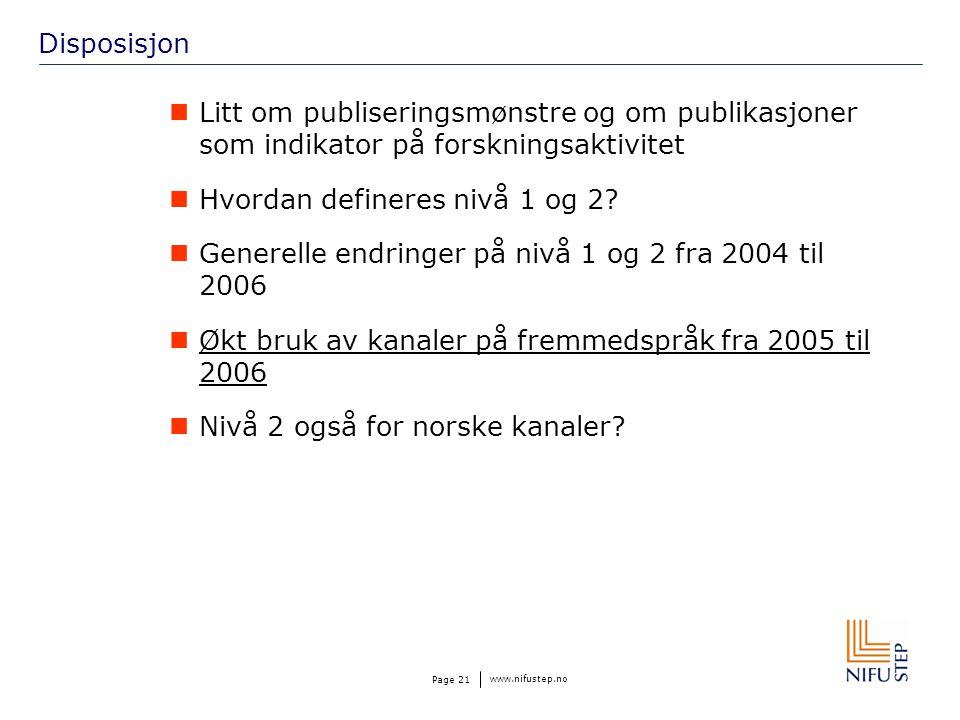 www.nifustep.no Page 21 Disposisjon Litt om publiseringsmønstre og om publikasjoner som indikator på forskningsaktivitet Hvordan defineres nivå 1 og 2.