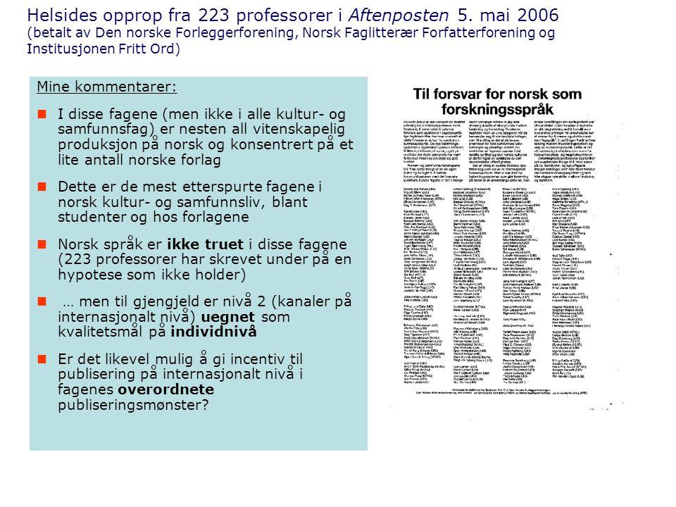 Helsides opprop fra 223 professorer i Aftenposten 5.