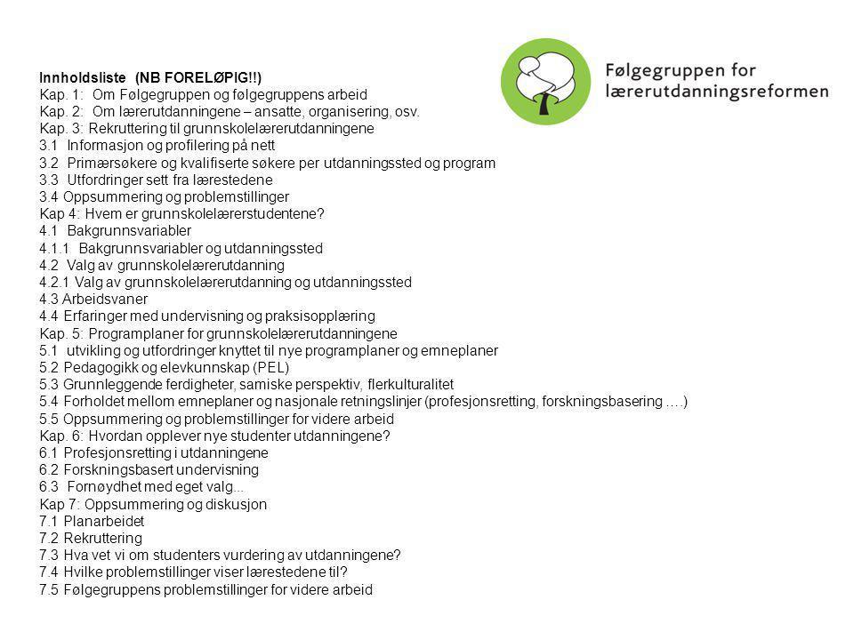 Innholdsliste (NB FORELØPIG!!) Kap. 1: Om Følgegruppen og følgegruppens arbeid Kap.