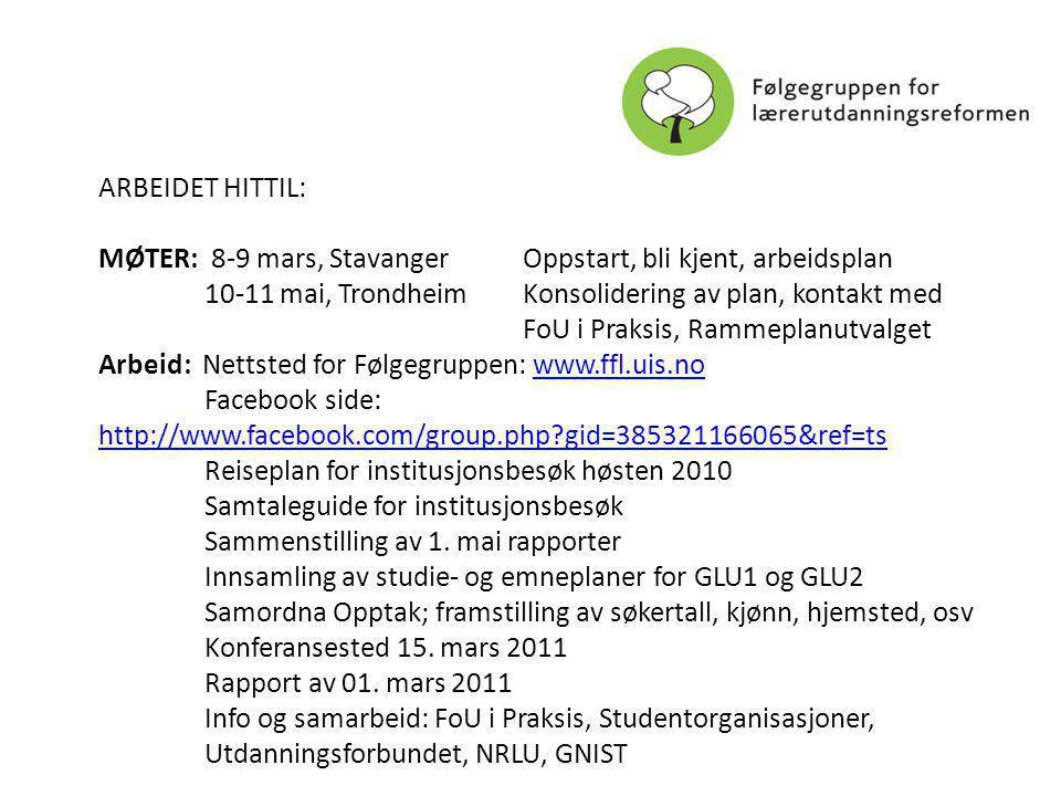 ARBEIDET HITTIL: MØTER: 8-9 mars, StavangerOppstart, bli kjent, arbeidsplan 10-11 mai, TrondheimKonsolidering av plan, kontakt med FoU i Praksis, Rammeplanutvalget Arbeid: Nettsted for Følgegruppen: www.ffl.uis.nowww.ffl.uis.no Facebook side: http://www.facebook.com/group.php gid=385321166065&ref=ts http://www.facebook.com/group.php gid=385321166065&ref=ts Reiseplan for institusjonsbesøk høsten 2010 Samtaleguide for institusjonsbesøk Sammenstilling av 1.