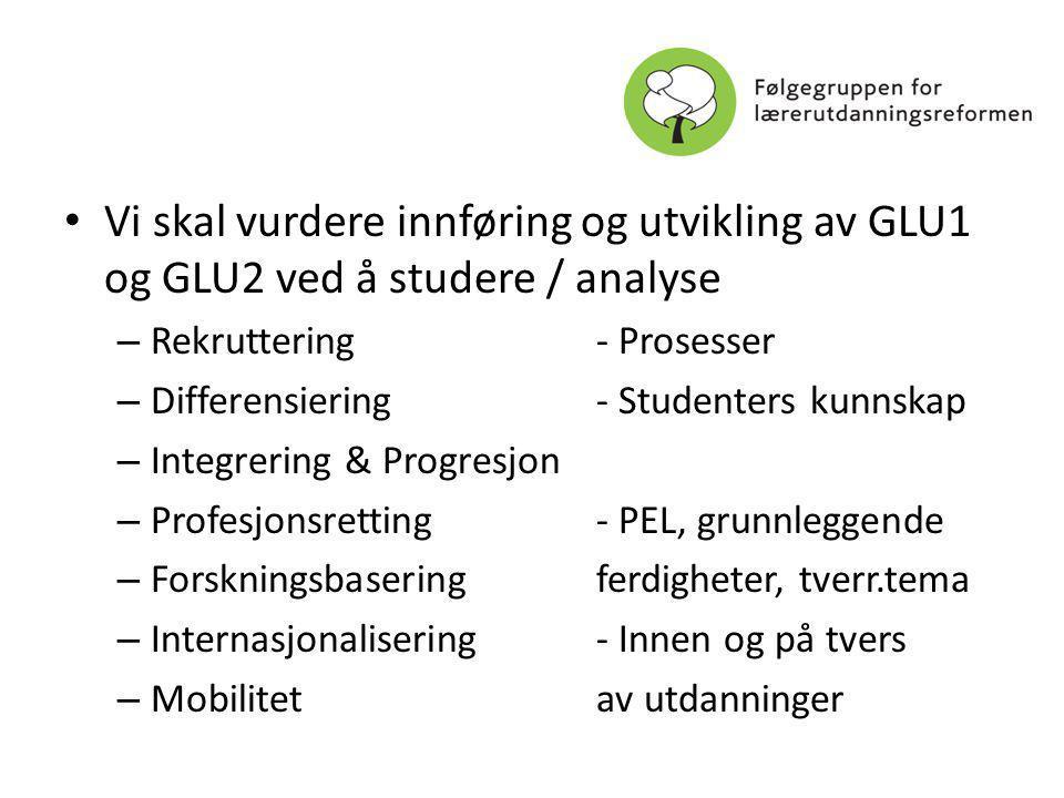 Vi skal vurdere innføring og utvikling av GLU1 og GLU2 ved å studere / analyse – Rekruttering- Prosesser – Differensiering- Studenters kunnskap – Integrering & Progresjon – Profesjonsretting- PEL, grunnleggende – Forskningsbaseringferdigheter, tverr.tema – Internasjonalisering- Innen og på tvers – Mobilitetav utdanninger