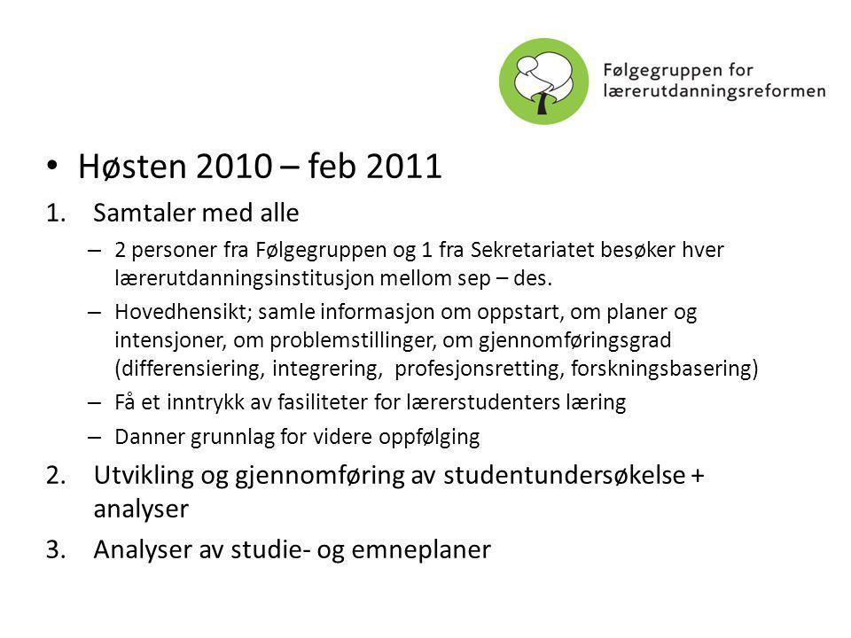 Høsten 2010 – feb 2011 1.Samtaler med alle – 2 personer fra Følgegruppen og 1 fra Sekretariatet besøker hver lærerutdanningsinstitusjon mellom sep – des.