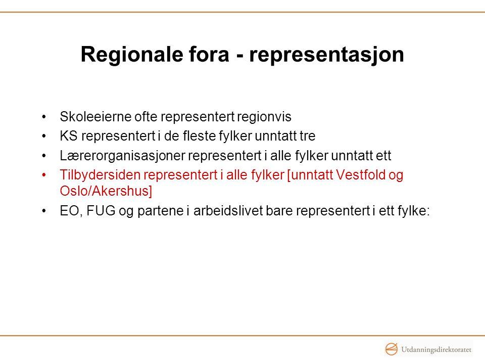 Regionale fora - representasjon Skoleeierne ofte representert regionvis KS representert i de fleste fylker unntatt tre Lærerorganisasjoner representert i alle fylker unntatt ett Tilbydersiden representert i alle fylker [unntatt Vestfold og Oslo/Akershus] EO, FUG og partene i arbeidslivet bare representert i ett fylke: