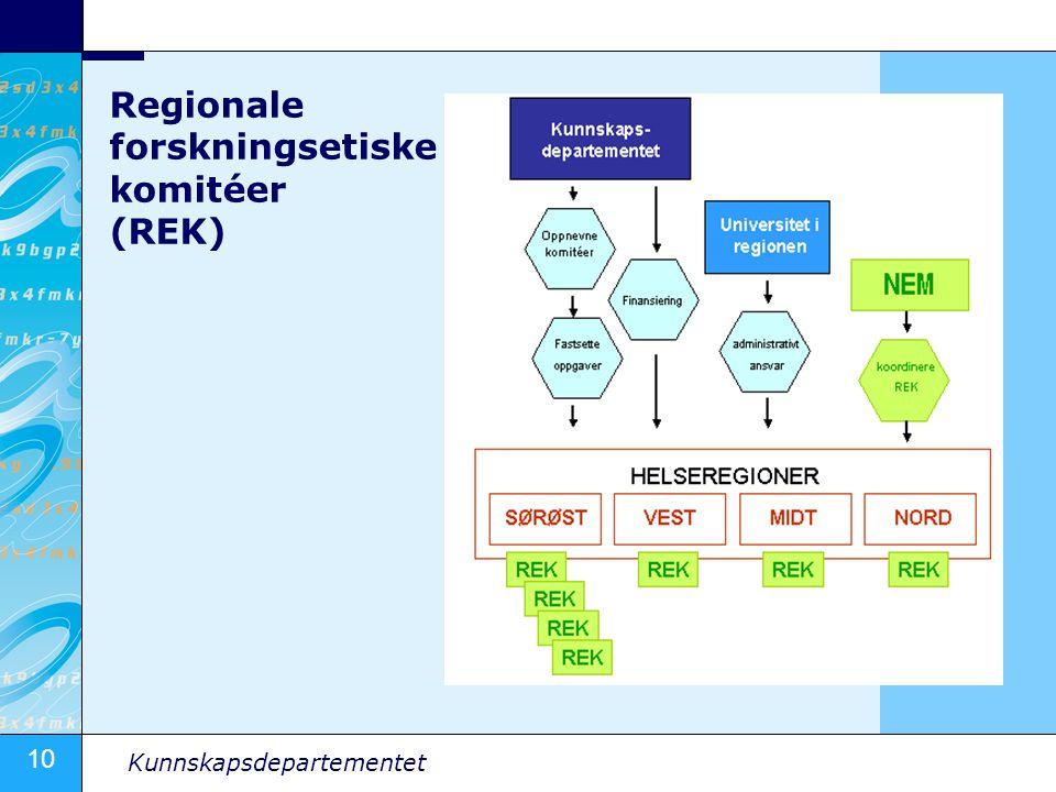10 Kunnskapsdepartementet Regionale forskningsetiske komitéer (REK)