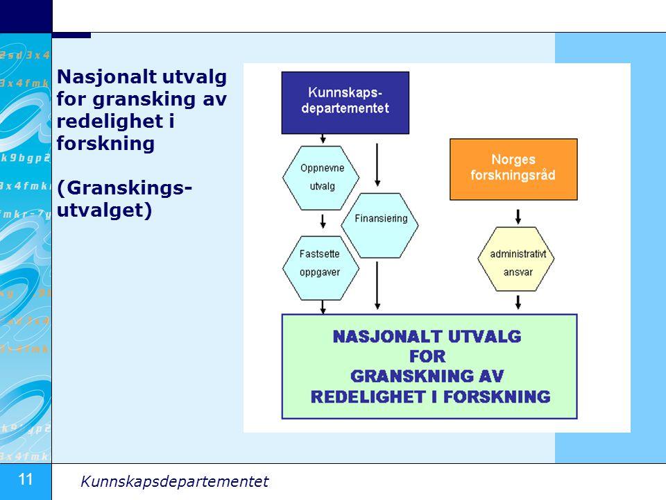 11 Kunnskapsdepartementet Nasjonalt utvalg for gransking av redelighet i forskning (Granskings- utvalget)