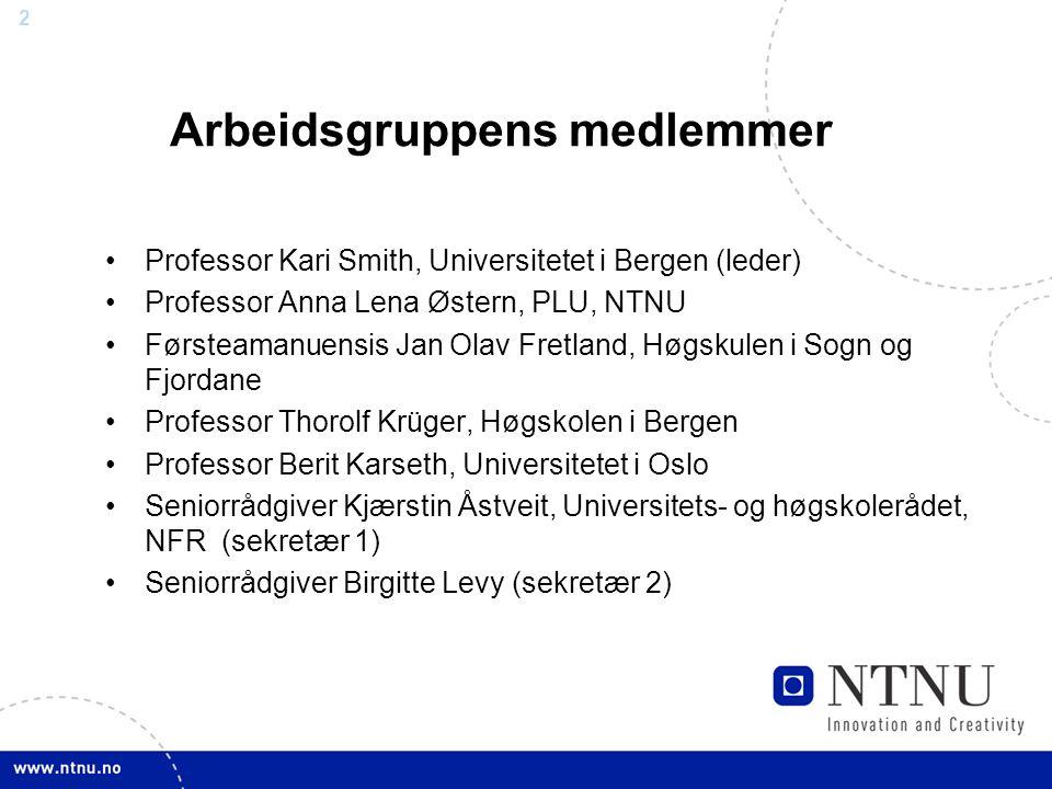 2 Arbeidsgruppens medlemmer Professor Kari Smith, Universitetet i Bergen (leder) Professor Anna Lena Østern, PLU, NTNU Førsteamanuensis Jan Olav Fretl